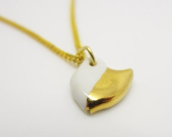 Metallic Gold and White Half Dipped Ohio Necklace Glazed Ceramic on an 18 inch Gold Chain