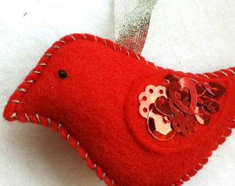 CLEARANCE handmade RED sequined bird ornament, eco felt christmas or valentine holiday decor, shiny winter cardinal with red sparkles