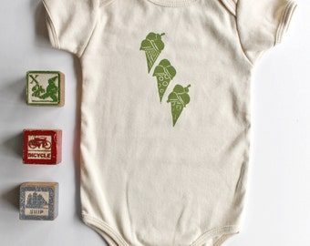 Ice Cream Cone Print Organic Cotton Short Sleeve Onesie-Hand printed onesie- 100% Organic cotton