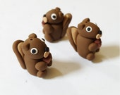 Squirrel Beads/ Set Of Three/ Polymer Clay Squirrels/ Handmade/ Jewelry Supplies/ Beads/ Animal Beads/ Crafts/ Beading