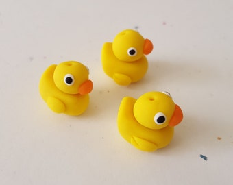 Rubber Ducky Beads/ Set Of Three 15mm Polymer Clay Rubber Duckies/ Handmade/ Jewelry Supplies/ Beads/ Duck Beads/ Crafts/ Beading