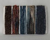 Yarn Scraps Blue Brown Copper Fiber Supplies 1222