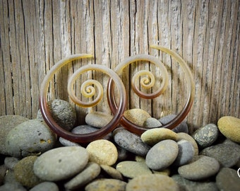 6G   Beryl Seaglass   Spirals   Gauged Glass Body Jewelry for Stretched Piercings by Glassheart