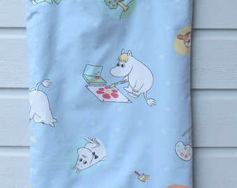 Tote shopping bag light blue reused cotton shoulderbag with Moomins