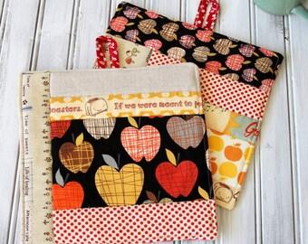 Patchwork Pot Holder,  Trivet, Hot Pad Kitchen Set Black and Red Apples, Orange Apples, Linen