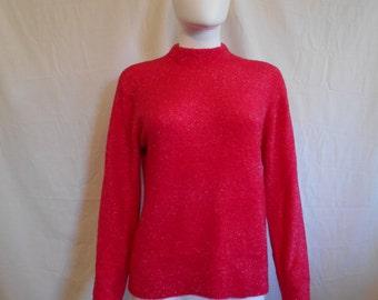 90s shiny glittery sweater top pink furry fuzzy