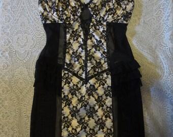 Black Lace Corset Slip Girdle Dress XS Small Pin-Up Gothic
