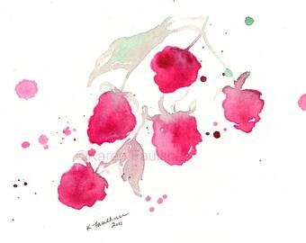 "Watercolor art print of raspberries: ""A Splash of Raspberry"""