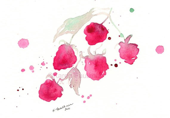 "Watercolor art print of raspberries: ""A Splash of Raspberry"""