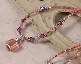 Simple Pink Beaded Necklace, Purple Swarovski Crystals, Glass Pendant, Sterling Silver, Pink Purple NANN