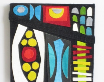 Original Fabric Collage Art - geometric, abstract, and colorful