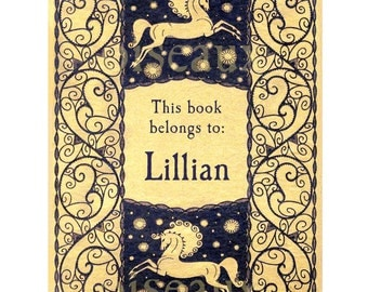 Personalized Bookplates - Night Horses - Vintage Fairy Tale Book Labels, Children's Library, Ex Libris