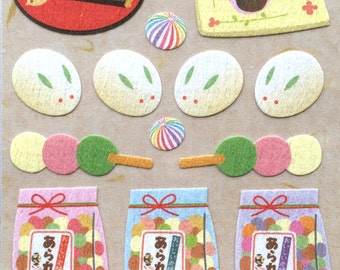 Cute Japanese Stickers - Chiyogami Stickers - Japanese Traditional Sweets - Cat Stickers - Matcha Stickers (S16)
