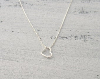 Silver Love Heart Necklace - Sterling Silver Heart Charm Pendant - Small Heart Necklace - Silver Heart Necklace - Valentines Day Gift -