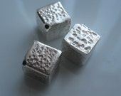 Sterling silver cube beads-hammered silver beads-925 silver- beading supplies-jewelry supplies ONE BEAD