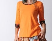 Bright orange top, Womens jersey top with vintage brown floral details, Orange and brown jersey top with 3/4 narrow sleeves