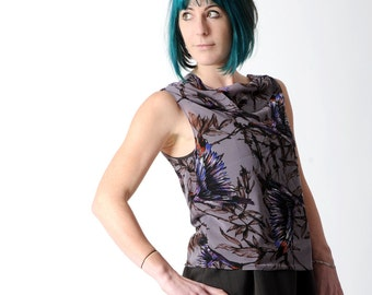 Sheer purple top, Sleeveless bird print top, Purple summer top, Loose voile top, Womens sheer top, Bird print shirt