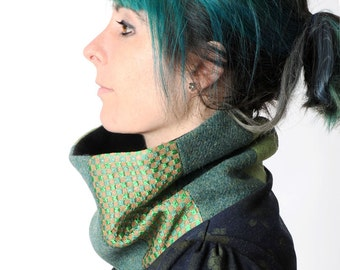 Green patchwork cowl, womens green snood, womens winter cowl in green wool and shiny squares, Womens winter fashion, Gift for her, MALAM