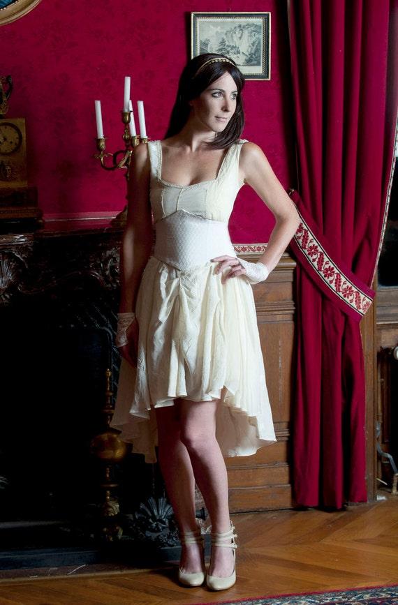 Assymetric wedding dress - Ivory and pale yellow dress with freeform stitching and waist cincher belt - short wedding dress