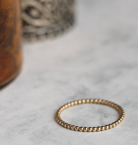 Dotted Stacking Ring - Gold Fill