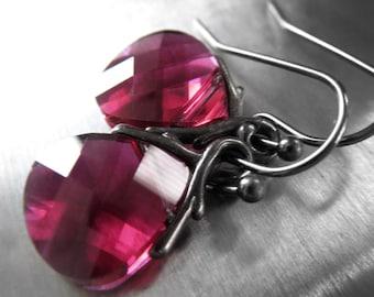 Crystal Teardrop Earrings in Magenta Ruby Pink, Dark Pink Fuchsia Crystal Briolette Earrings, Valentines Day Gift, Bridemaid Earrings 6012