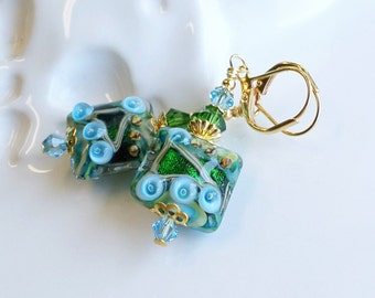 Green and Blue Lampwork Swarovski Crystal Earrings, Blue Lampwork Earrings, Green Lampwork Earrings, Glass Dangle Earrings