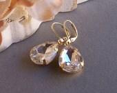 Crystal Rhinestone Earrings, Wedding Jewelry, Bridesmaid Earrings, Prom Jewelry, Romantic old Hollywood Style, Bridal Earrings, Gold Filled