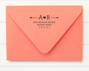 Address Stamp / Return Address /  Self Inking Return Address Stamp  - ARROW DESIGN - Housewarming Newlywed Gift