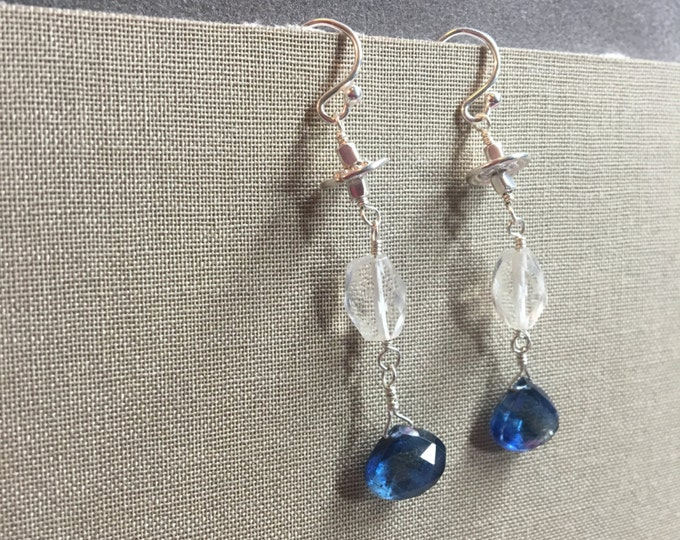 Blue Kyanite and Aquamarine Earrings with bali Silver and Sterling Silver Accents