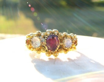Antique Gold Ring, Rhodolite Garnet, Glowing Moonstone, Rose Cut Citrine, Closed Back Settings and Fancy Details, Victorian  - Georgian