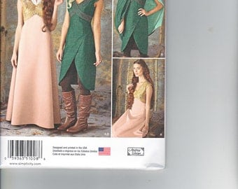 Simplicity 1008 Misses Medieval Costume Dress Cape Skirt Sewing Pattern Sizes 6-12 NEW UNCUT