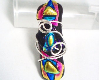 Carnival Dichroic Glass Pendant with Sterling Silver Wirework - Black Background with Multicoloured Fused Layers of Shimmering Metallics