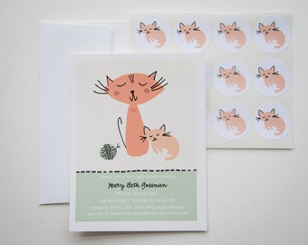 Knittin' Kitten Baby Shower Invitation Set with Stickers
