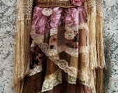 Lace roses  dress tea stained  crochet tulle vintage  bohemian romantic small by vintage opulence on Etsy