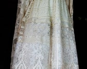Strapless lace dress wedding ivory cream vintage embroidery  flapper  boho small by vintage opulence on Etsy