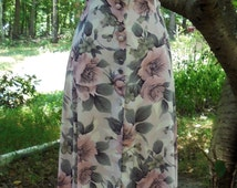 Floral midi dress cotton  frock pink ivory button front  roses small medium from vintage opulence on Etsy