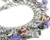 Secret Garden Charm Bracelet, Silver Charm Bracelet, Purple Pansies Garden Jewelry, Gardening Charm Bracelet