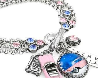 Rockabilly Jewelry, Pink Bracelet, Car Jewelry, Pink Cadillac Bracelet, Rockabilly Charm Bracelet, Retro Jewelry