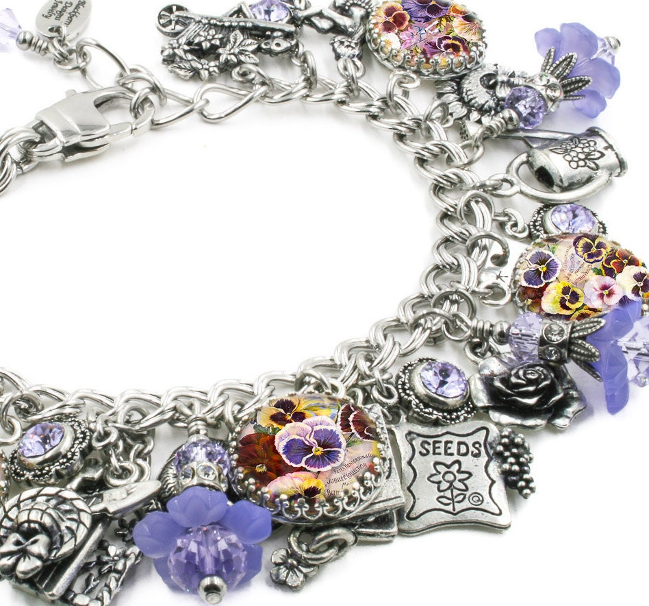 Garden Charms: Secret Garden Charm Bracelet Silver Charm Bracelet Purple