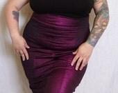 Fuchsia Shimmer High Waist Wiggle Skirt Plus Size