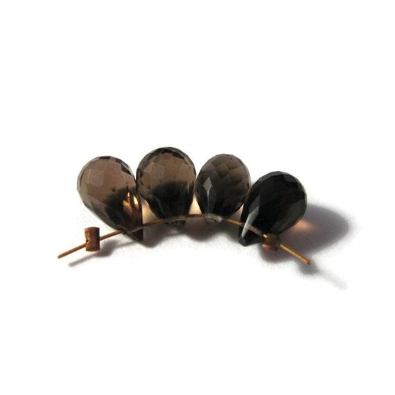 4 Smoky Quartz Beads, Four Natural Gemstone Briolettes, 9mm x 6mm, 4 Brown Stones for Making Jewelry (B-Sq9b)