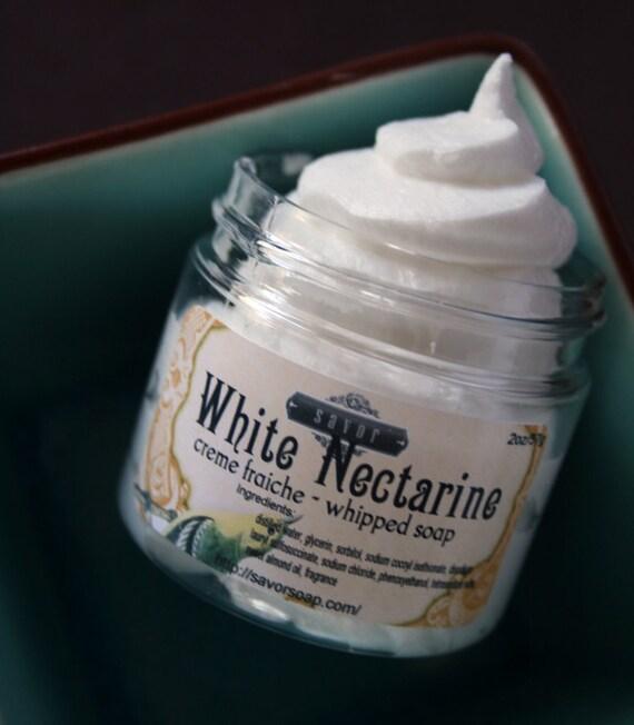 whipped soap white nectarine creme fraiche vegan 2 oz sample. Black Bedroom Furniture Sets. Home Design Ideas