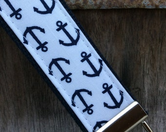 READY TO SHIP-Beautiful Key Fob/Keychain/Wristlet-Navy Anchors on White-Navy