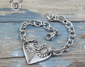Spoon Heart Bracelet - Adjustable - Inspired by Antique Victorian Silverware - Doctorgus Handmade Pewter Jewelry Creations Ornate Boho style