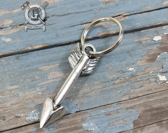 Arrow Keyring - Doctorgus Handmade Jewelry Creations - Recycled Pewter Arrow Key Chain - Boho Style Zipper Pull - Southwestern Rustic