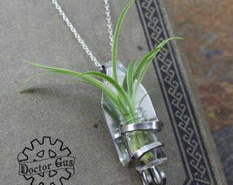 Living Fork Pendant - Living Jewelry - Handcrafted Upcycled Stainless Steel Fork - Unique Wedding Idea - Flower Bud Vase Corsage Boutonniere