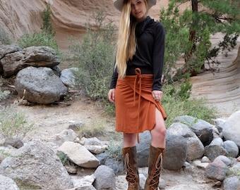 Organic Wrap Short Pencil Skirt (light hemp/organic cotton knit) - organic skirt