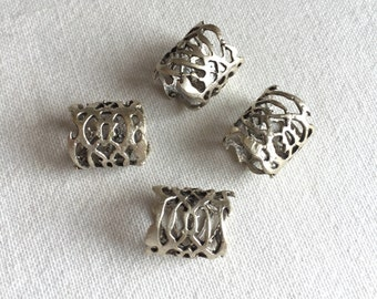 CLEARANCE 4 Fretwork Tube Spacer Beads, Silver Plated
