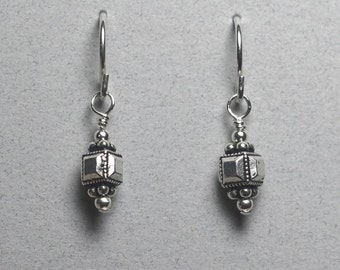Sterling silver earrings with small square Bali bead