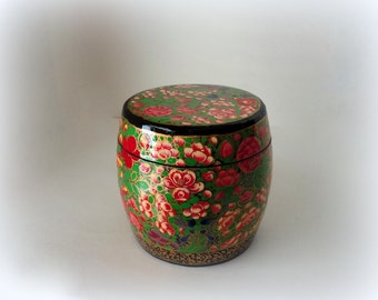 "Vintage 4"" Ginger Jar Kashmir Paper Mache Lacquered Trinket Box Apple Geranium Lupine Blossom Hand Made Painted Large Treasure Valet Dresser"
